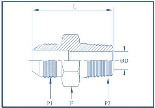 High Pressure Adaptor JIC Male NPT Male ,10000 psi