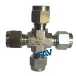 Union Cross Double Ferrule Compression Fitting